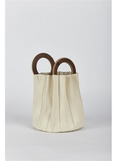 Moon Desenli Baguette Bag Krem